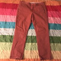 Textile by Elizabeth and James Elton Twill Skinny Crop Pants Rust Red 30 A492