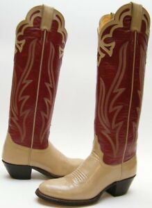 WOMENS VTG JUSTIN 4289 TALL RED TAUPE LEATHER COWBOY WESTERN BOOTS SZ 5.5~1/2 B
