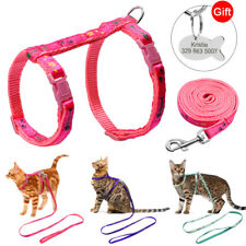 Adjustable Cat Harness & Leash With Engraved Cat ID Name Tag for Puppy Rabbit
