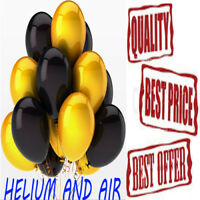 Gold & Black Latex Balloon Helium & Air Quality Birthday Wedding Party Baloon UK