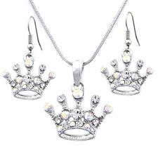 Princess Queen Tiara Crown Charm Earrings Necklace Pendant Set Jewelry s134