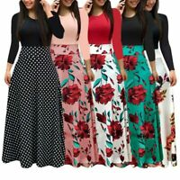 Women Bohemian Long Sleeve Maxi Flowy Dress Polka Dot Floral Patchwork Bodycon