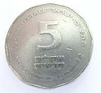 5 Shequelim nuevos de 1990 moneda israelí de cinco