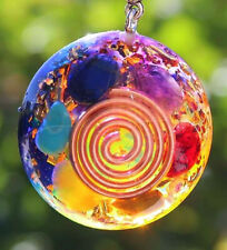 LARGE ENERGIZED ORGONE DOME CHAKRA Crystal PENDANT WITH COPPER COIL, EMF SHIELD