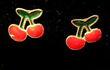 Gold Tone Green Red Enamel Cherry Berry 10mm stud earrings Girls boxed 1cm new