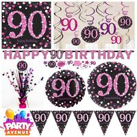 Pink Sparkling Celebration 90th Birthday Party Tableware Decorations Balloons