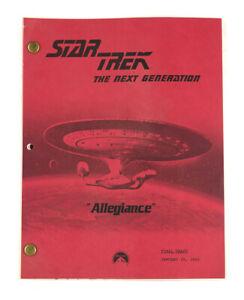 """STAR TREK:TNG ORIGINAL SCRIPT """"Allegiance,"""" Written by"""