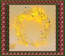 """40LEDs Pre-Lighted 15""""Dia Christmas Wreath,Garland, Battery Door/Wall Decoration"""