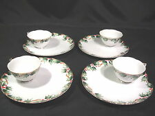 Lefton China Holly Garland Hand Painted Snack Plate & Cup Sets Group of 4