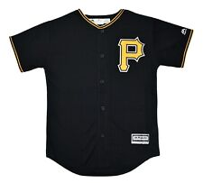 Majestic MLB Pittsburgh Pirates Cool Base Youth Blank Black Jersey LOOK M