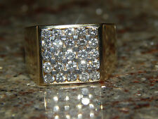 HEAVY 14K SOLID YELLOW GOLD MENS 1.50 TCW SQUARE FACE DIAMOND RING  SI / H !!!