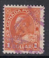 "Canada Scott #122  $1.00  orange  ""Admiral""   F"
