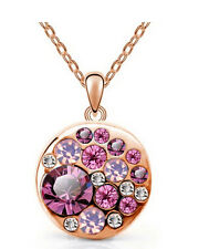 Ladies Lovely 18K Rose Gold Plated PINK Crystals Pendant Necklace Jewelry Gift