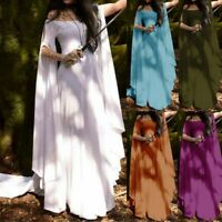 Women Retro Cosplay Vintage Club Elegant Flare Sleeve Long Dress Party Ball Gown