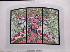 PLANCHE ALBUM DE LA DECORATION LE JARDIN DES HESPERIDES VITRAIL PAR BONVALLET