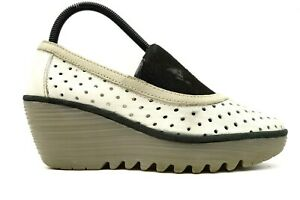 Fly London Ivory Perforated Leather Platform Wedge Heels Womens 38 / 7.5 - 8