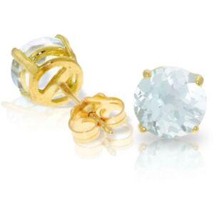 Genuine Aquamarine Round Cut Gems Stud Earrings In 14K Yellow Gold