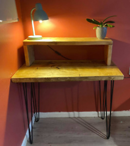 Rustic industrial style Compact desk with Hairpin Legs Offce Study Solid Wood