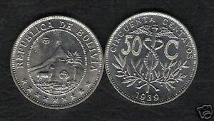 BOLIVIA 50 CENTS KM182 1939 x 100 Pc Lot HORSE SUN MOUNTAIN UNC COIN Latin Money