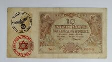 More details for 🍀🇵🇱 poland wwii 1940 nazi occupation currency note 10 zloty  litzmannstand