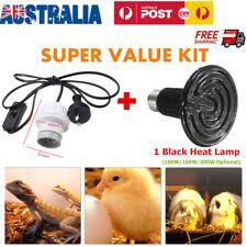 E27 Infrared Ceramic Heat Emitter Lamp Bulb /Holder for Reptile Pet Brooder New