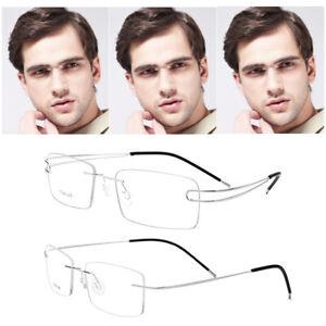 Men's Myopia Glasses Gold Rimless Frame Custom Lenses -0.50 -0.75 -1.00 to -6.00