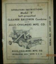 Allis-Chalmers Gleaner Baldwin E Self Propelled Combine Operators Manual OEM