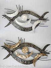 Wanddeko Metallbild Auge moderner Wandschmuck Wandrelief Muschel Perlmutt