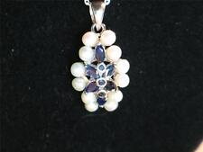 NATURAL BLUE SAPPHIRE & FRESH WATER PEARL RHODIUM PLATED SILVER PENADNT & CHAIN