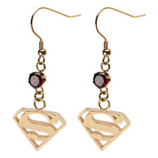 DC Comics Superman Logo Cubic Zirconia Dangle Earrings Gold Stainless Steel
