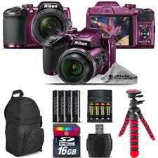 Nikon COOLPIX B500 Plum Camera 40x Zoom + Extra Battery + Backpack - 16GB Bundle