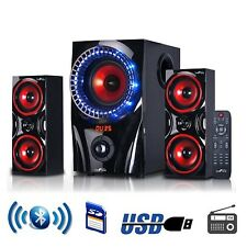 2.1 Channel Surround Home Stereo Theater Sound Bluetooth Speaker System Red