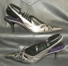 Donald J Pliner Romy women's pewter leather slingback dress pump shoes US 8 1/2N
