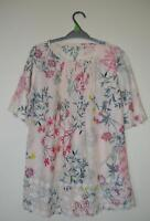 NEW EX M & S UK SIZE 8 10 12 14 16 18 20 PALE SALMON PINK FLORAL PRIN BLOUSE TOP
