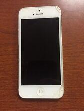 Apple Iphone 5 Blanco Quebradas Pantalla Bloqueado Verizon Ver Foto para Piezas