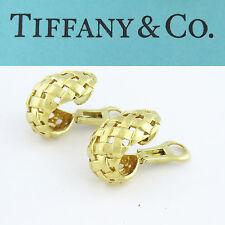 NYJEWEL Tiffany & Co. Vannerie 18K Yellow Gold Open Basket Weave Earrings