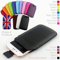 Quality Pull Out Tab Soft PU Leather Top Flip Slide In Case Cover Pouch Sleeve