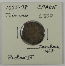 C330 Spain, BI Dinero of Pedro IV, 1335-98, Barcelona Mint D