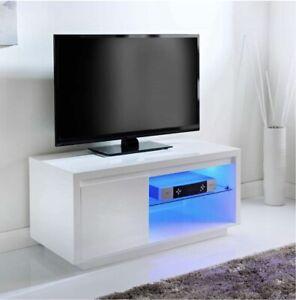 Alaska High Gloss Media TV Unit Stand White LED Lighting Modern/living Room