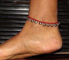 Fusskette Fußschmuck Fussbändchen Glöckchen Perlen Fußkettchen Damen Rot NEU!
