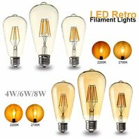 Dimmable E27 ST64 COB LED Bombilla 4W 6W 8W Edison Retro Vintage Filament Light