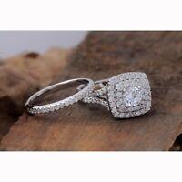 Double Halo Engagement Wedding Bridal Ring Set In 1.30Ct Diamond 14K White Gold