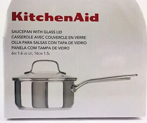 "KitchenAid stainless steel Saucepan w/ Glass Lid 1.5 Qt 6"" gas Induction ele NEW"