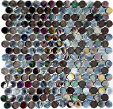 Black Iridescent & Stained Penny Glass Kitchen Bath Mosaic Tile-14 Per Box