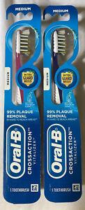 Oral-B Manual Toothbrush, CrossAction Vitalizer, Medium, 2-Pack, Pink & Blue