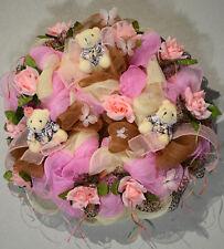 XLTürkranz. Baby Mädchen. Bärchen.Geburtstag.Taufe. Willkommen Deko. Mesh Wreath