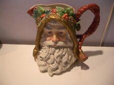 Vintage Fitz & Floyd Classics Large Santa Claus Ceramic Pitcher Pine Cones