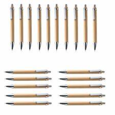 Ballpoint Pen Set Plastic Blue Ink Bamboo Wood Writing Office School Instruments
