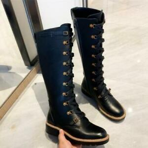 Womens New Fashion Leather Buckle Strap Lace Up Knee High Combat Boots Shoes SKG