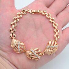 18K Yellow Gold Filled Women Clear Topaz Seashells Link Bracelet Jewelry